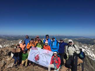 On top of the world: On July 28, all hikers with the Backpacks and Bleeders group reached the summit of Quandary Peak (14,265 feet).