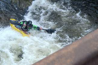 Darrell Haggard in the whitewater hole at the Frisco kayak park on Ten Mile Creek.