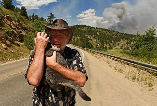 Evacuee Andy Watt is grateful that he got his cat Sophie out of his house before having to evacuate from Ridge Road because of the Cold Springs Fire on July 10, 2016 in Nederland, Colorado. The Cold Springs fire has more than doubled in size since it began yesterday.