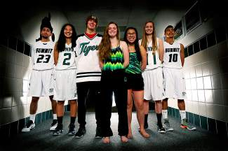 Summit High School winter athletes (left to right): sophomore Dimitri Preciado, senior Jess Horii, senior Wyatt Dickerson, Emily Pappas, senior Maddy O'Malley, senior Megan McDonnell, junior Jesus Moya.