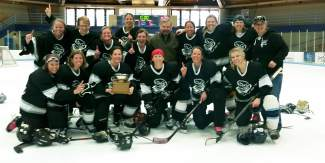 The Fatty's Fury women's hockey team poses for a much-deserved photo opp after trouncing Aspen, 5-1, at the Mountain Division state championship game in Vail on April 3.