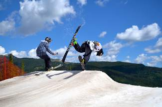Local skier Peyton O'Connor throws a front flip at Woodward's summer park in mid-July.