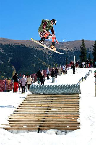 Air over the staircase. Woodward summer park at Copper, Colorado.