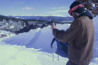 On The Hill host Zach Griffin (aka ZGriff) at his office for the day on March 27: the hand-dug Throwback Throwndown halfpipe in Breckenridge.