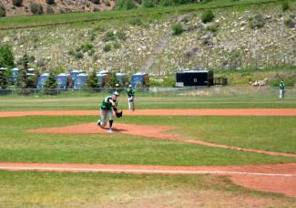 Pitcher Mitch Grey of the Summit Extreme Black Diamonds led his team to a 12-5 victory over the Vail Vipers in their season opener. The Summit local allowed two runs in five innings.