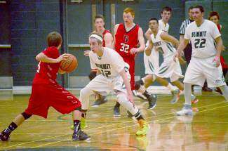 Summit's Luke Notaro (12) defends a Glenwood Springs forward during the Tigers' home game on Jan. 26, shot by @sumcosports