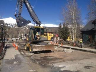 Crews begin work on the next phase of an ongoing Main Street revitalization project Monday morning in Breckenridge. Summit Daily/Caddie Nath