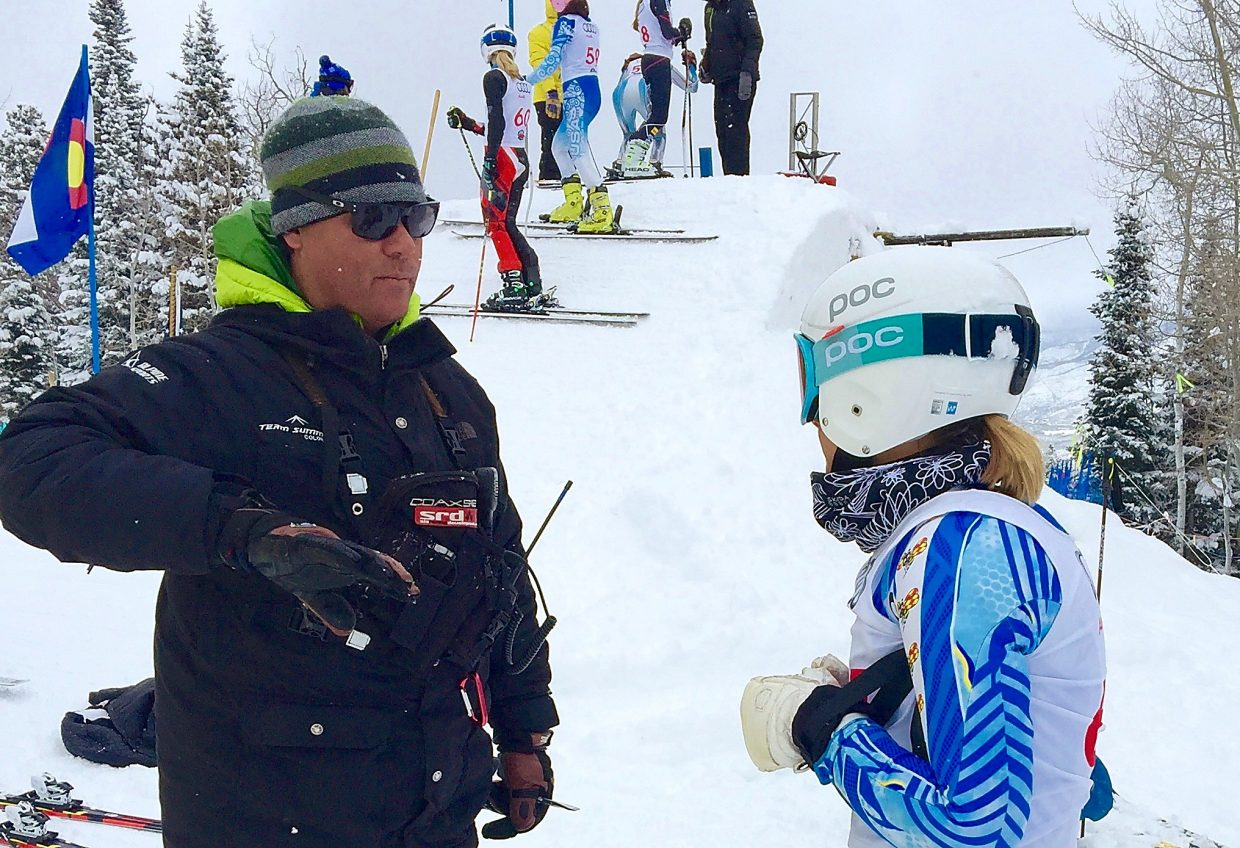 New Team Summit Colorado alpine director Troy Watts (left) with Team Summit athlete Stella Larsen at a USSA event in Aspen last season. Watts was recently named director to fill the role left vacant by Greg Needell, who died unexpectedly in June at Mammoth Mountain.