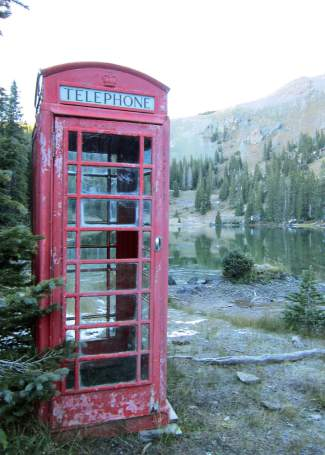 This vintage telephone booth somehow found its way to the edge of Alta Lake near the observatory. It was likely towed up from Mountain Village.
