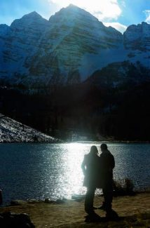 Grand Junction residents Cameron and Susan Poore enjoy the late afternoon at Maroon Lake. Access to the lake and the Maroon Bells-Snowmass Wilderness area opened Thursday morning after Congress ended the partial government shutdown Wednesday night.