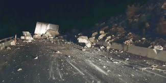 This semi was headed west Monday evening on Interstate 70 through Glenwood Canyon when it was struck by falling rocks. The driver was unhurt.