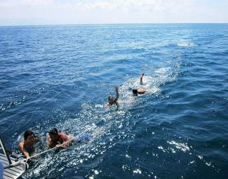 A day trip by sailboat resulted in plenty of swim time in the ocean.