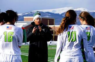 Summit girl's varsity soccer head coach Tommy Gogolen fires up his team before the start of the second half against Eagle Valley March 22. The Tigers would go on to tie 0-0.