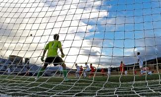 Summit goalkeeper Kyle Wertz (1) looks on as his team battles Steamboat Springs on Oct. 6, shot by @louietraub