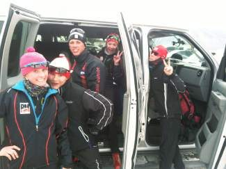 Members of Summit High's Nordic team on their way to nationals in Stowe, Vt., this week.