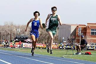 Summit's Liam Meirow races toward a school and meet record finishing first in the Mullen Invitational Saturday, ahead of Broomfield's Ethan Gonzalez (also pictured).