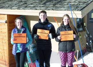 Loveland Ski Club racers (left to right): Roxi Holmes, Beck Barrett and Mallorie Miller, moments after qualifying for the U-16 Championships in Vail this March at the U-16 SYNC Cup Qualifiers in Loveland last weekend, captured by @lovelandskiclub