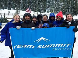 Going for the title: A group of U-14 ski racers reps the Team Summit flag between races at the Championships in Winter Park on March 15, caught and tagged #futurechampions by @jasonrosener