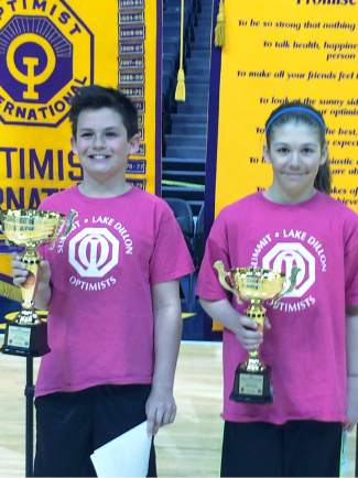 Young ballers: Congratulations to Jack Schierholz (left) and Emily Koetteritz's for taking first and second place in their age groups at the Optimist TriStar finals competition at the Pepsi Center, shot by Shona Koetteritz