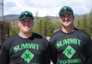 Former Summit County Extreme Black Diamonds head coach Nick Eversole (left), an assistant coach with Bloomburg University, and pitching coach Brady Kirkpatrick, a former University of Maryland pitcher. Kirkpatrick takes over for Eversole this season as head coach for the second-year collegiate team.