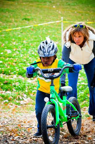 Kids are encouraged to hop on a bike and try out cyclocross racing during the Urban Tread series.
