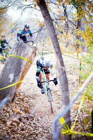 Dodging through trees are a common scene for cyclocross racers.