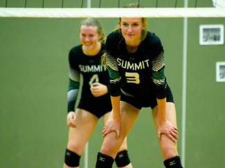 Summit seniors Emily Wallace (3) and Lexi Zangari (4) wait for a serve on senior night earlier this week, shot by @sumcosports