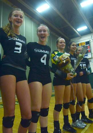 The five Tigers seniors before playing Battle Mountain at home on Oct. 20 (left to right): Emily Wallace (3), Lexi Zangari (4), Kait Akers (12), Michelle Frias (6), Autumn Ward (15).