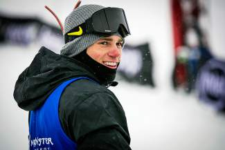 Gus Kenworthy smiles after completing a run in men's ski slopestyle Sunday. He emerged from mid-pack to take the silver medal with his third run.