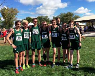 The Summit boy's cross-country team at the 4A league meet in Delta on Oct. 23. All seven varsity runners finished with personal records on the fast and flat course.