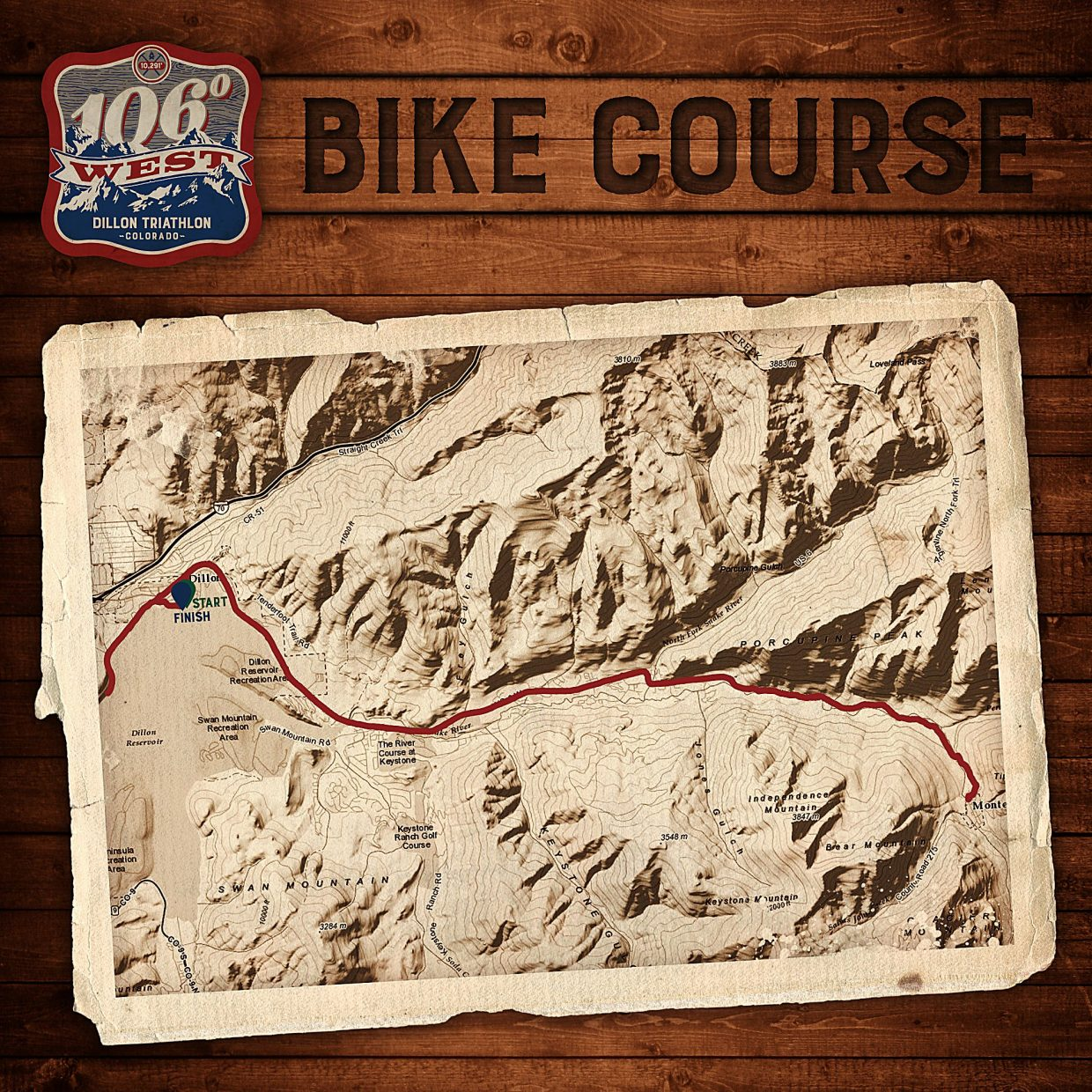 The 56-mile bike route for the debut 106 West Traithlon in Dillon on Sept. 10. The route takes cyclists on two laps from Dillon Marina to Montezuma and back. Spectators can catch the action anywhere along U.S. Highway 6, but be aware that all eastbound lanes are closed for racers.