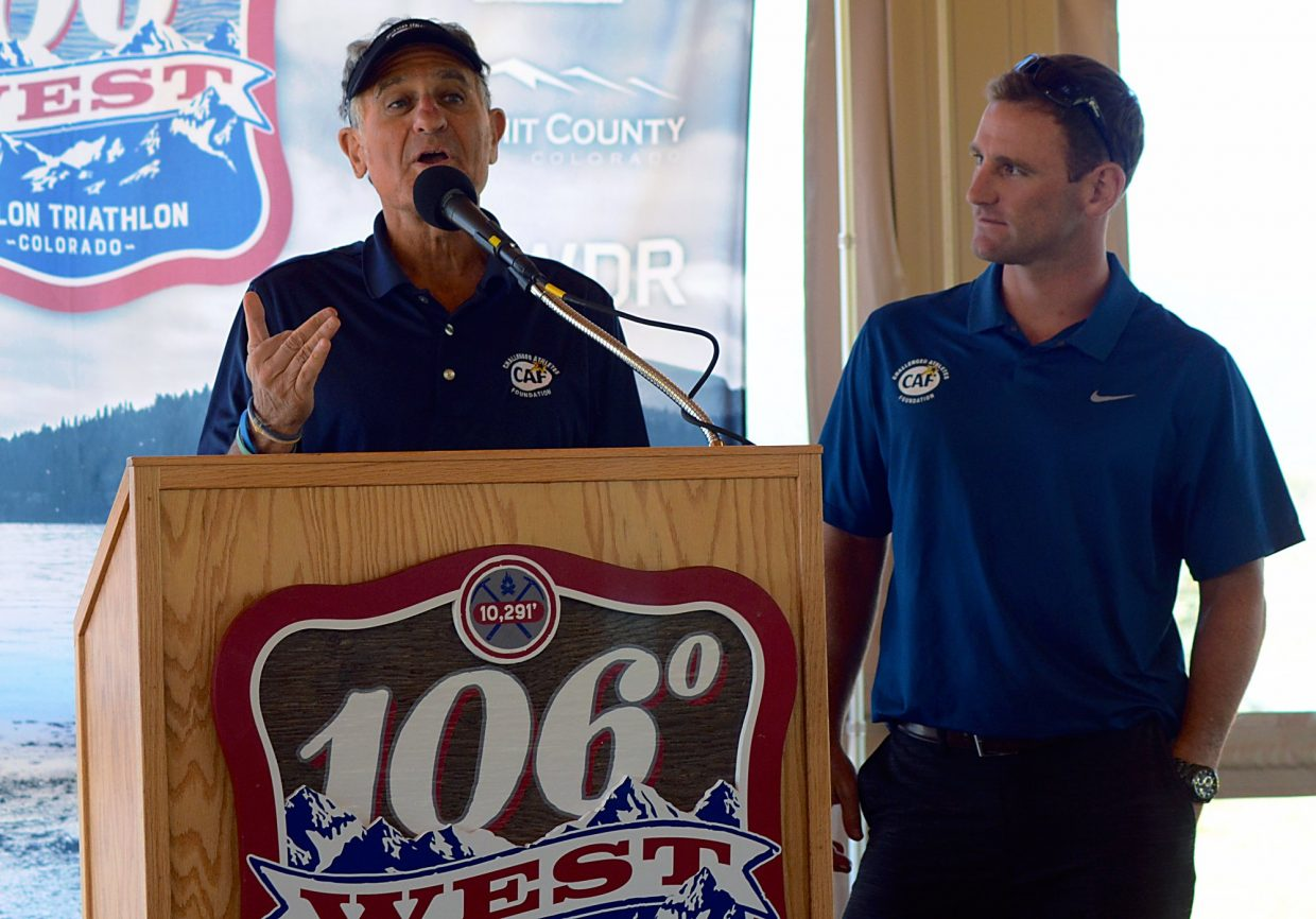 USA Triathlon Hall-of-Famer Bob Babbitt (left) speaks at the 106 West Triathlon announcement on Sept. 10 in Dillon. Babbitt was joined by retired Marine Eric McElvenny, a single-leg amputee who has finished four Ironmans and will compete in the inaugural event today at Lake Dillon.