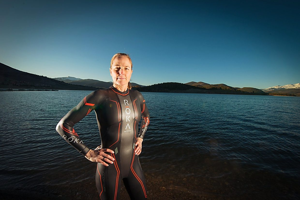 Two-time Olympian Laura Bennett in the water at Lake Dillon early on a May morning. On Sept. 10, Bennett joins mor than 1,000 athletes for the debut of the 106 West Triathlon, the first half-Ironman in Summit County.