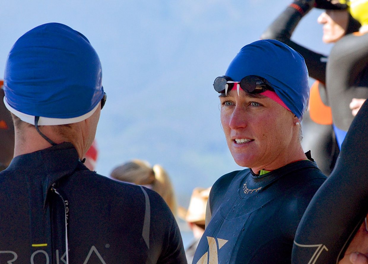 Local Xterra pro Jaime Brede preps for the swim leg on Lake Dillon before the first-ever 106 West Triathlon on Sept. 10. Brede competed in a small but tough pro division at the inaugural half-Ironman.