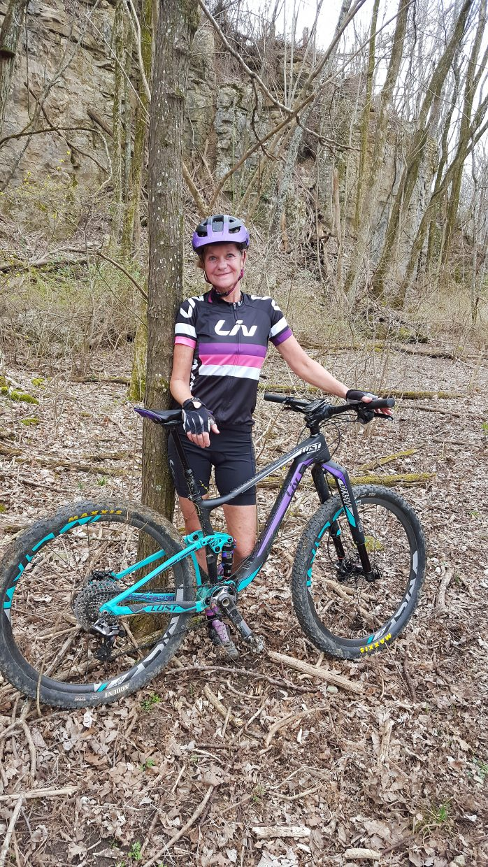 Pro mountain biker Grace Ragland takes a break during a recent trail ride. The 55-year-old is currently in Colorado for her first attempt of the Copper Triangle, a 79-mile road ride she's long had on her bucket list.