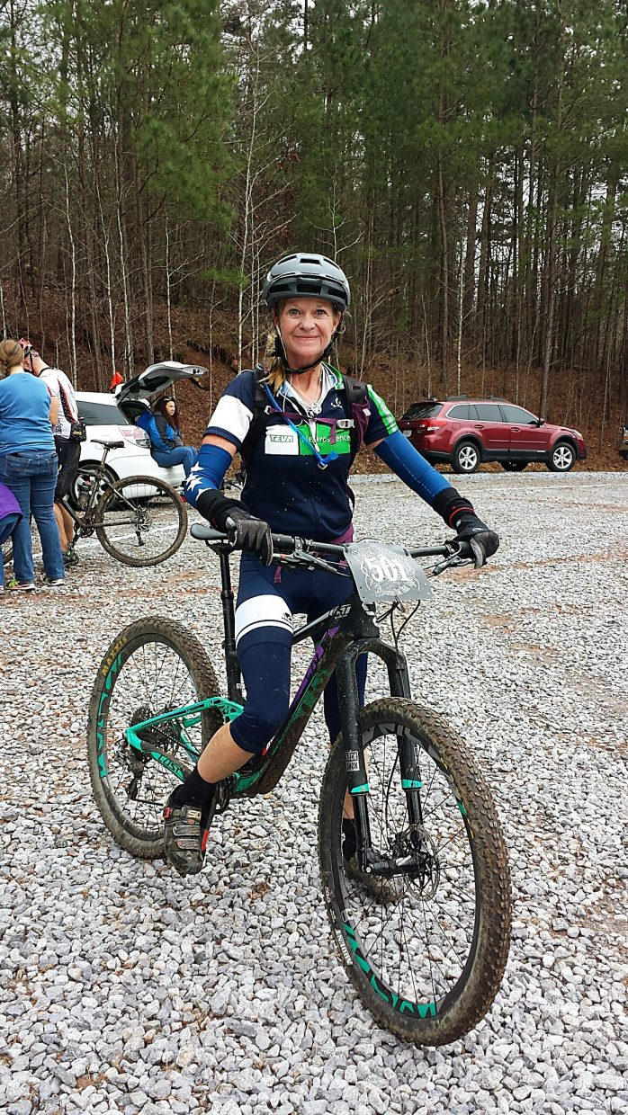 Elite Alabam MTB racer Grace Ragland before a mountain bike ride earlier this year. The 55-year-old was diagnosed with multiple sclerosis at 10 years old and has been a professional mountain biker for 15 years.