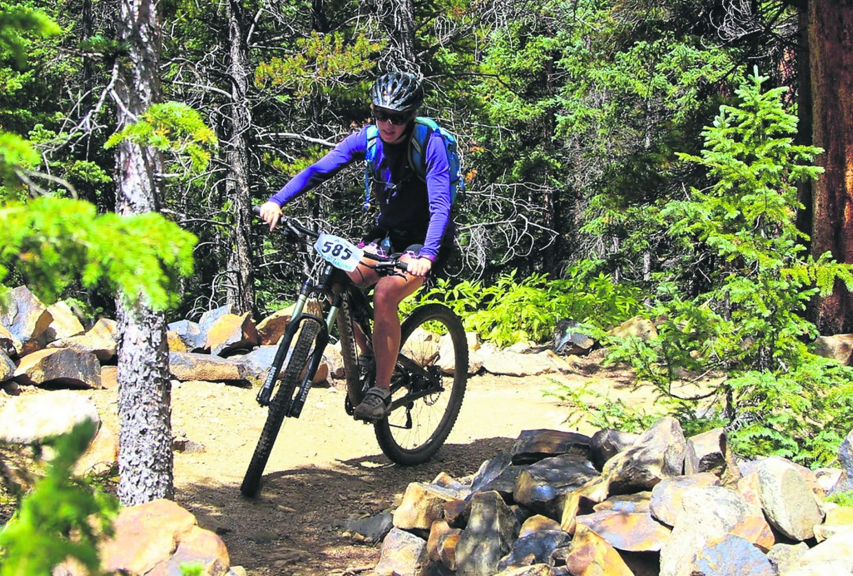 A rider weaves through the singletrack during the 2016 Fall Classic mountain bike race on Sept. 4, the final event of the summer-long Summit Mountain Challenge series. The event drew about 200 total riders for a 30-mile long course and 21-mile short course.