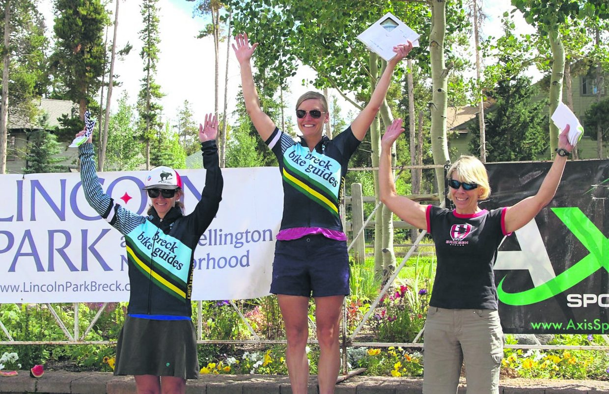The women's pro podium at the 2016 Fall Classic mountain bike race: 1. Amy Freeman (Breck Bike Guides) 2. Katie Lindquist (Kent Eriksen Cycle) 3. Christena Ward (Breck Bike Guides)