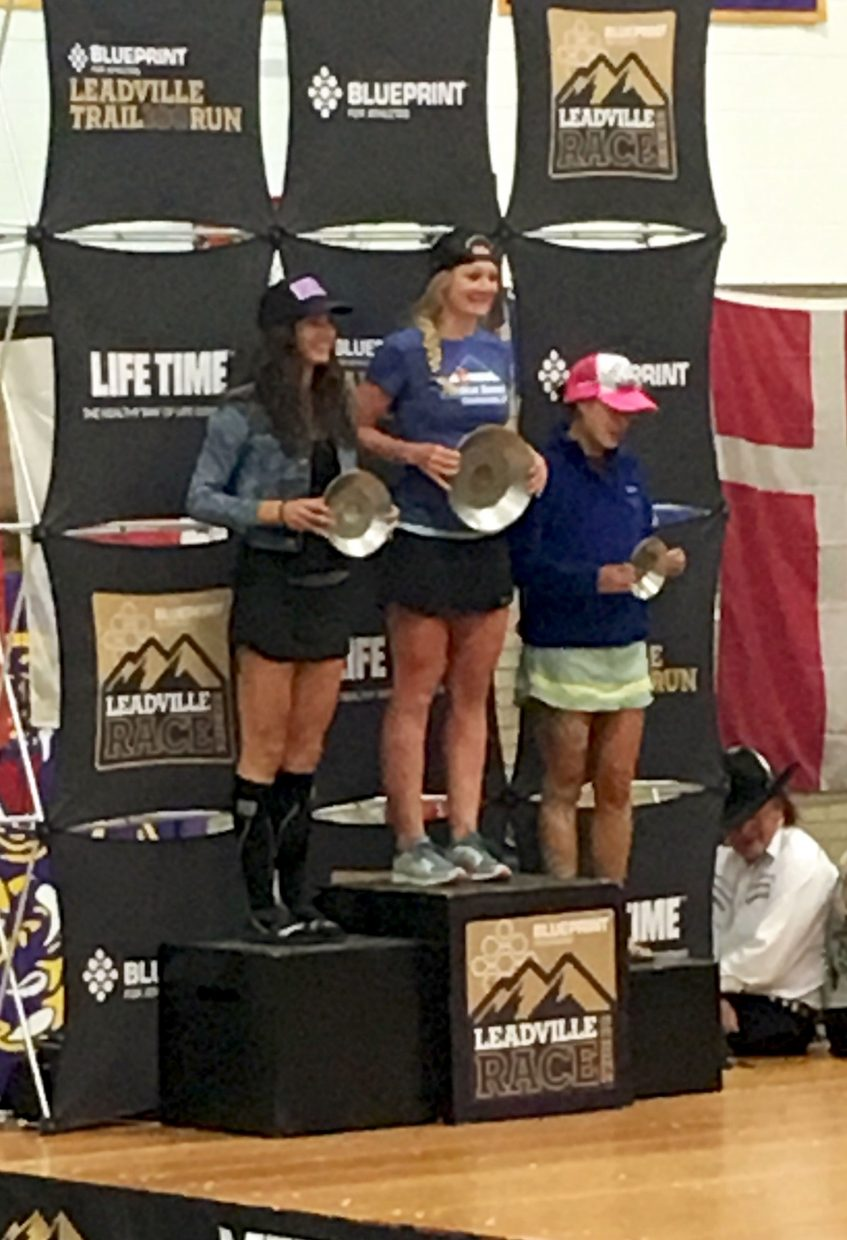 Breck ultra-runner Sabrina Stanley (top podium) at the awards ceremony after winning her age division (25-29 years old) at the 2016 Leadville 100 Trail Run. Stanley now wants to pursue more prestigious races en hopes of a career in endurance running.