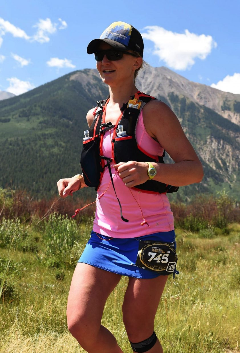 Breckenridge ultra-runner Sabrina Stanley on the trail at the 2016 Leadville 100 Trail Run on Aug. 20. Stanley took fourth place overall for females and first place in her age group (25-29 years old).