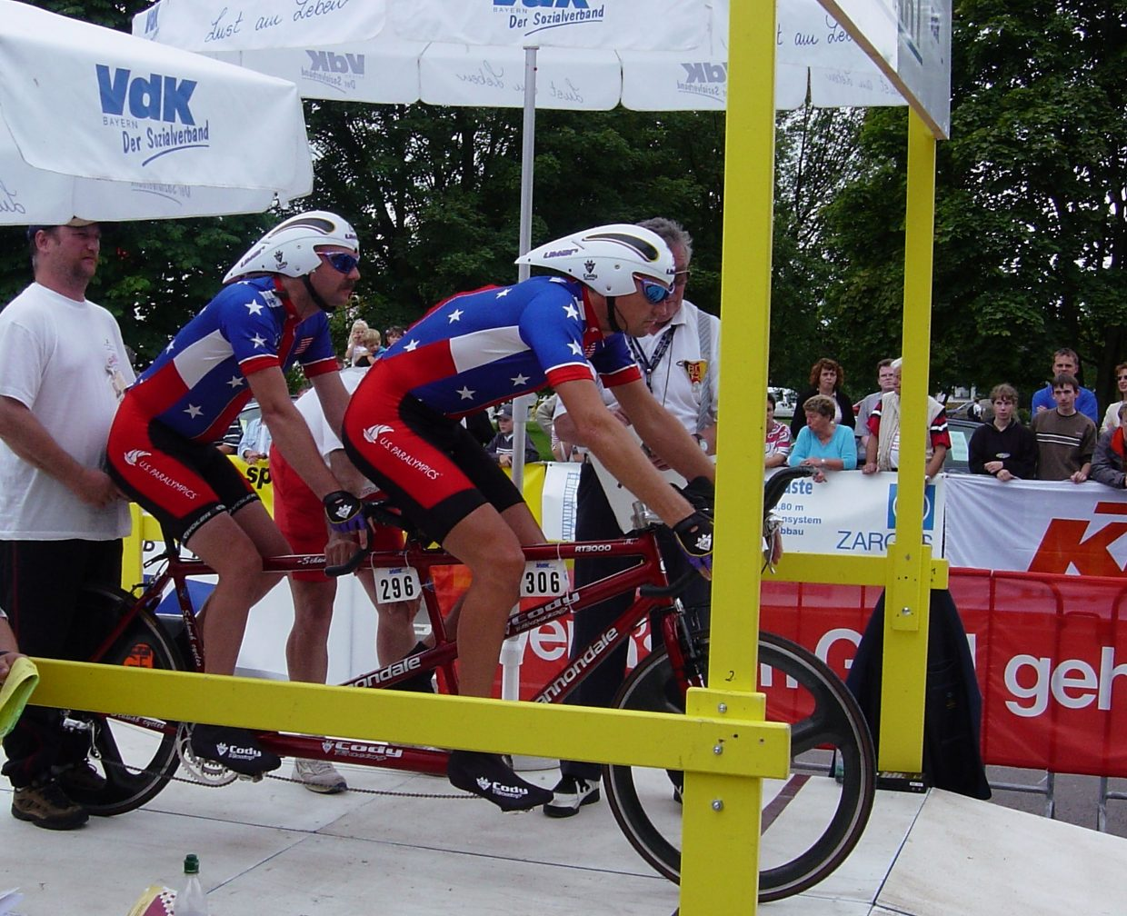 Summit Cover resident Bill Ramsay (front) with his tandem biking partner, Randy Hampton, at the 2002 World Championships in Germany. Ramsay moved to Summit County five year ago after a stint coaching and traveling with World Cup tandem teams.