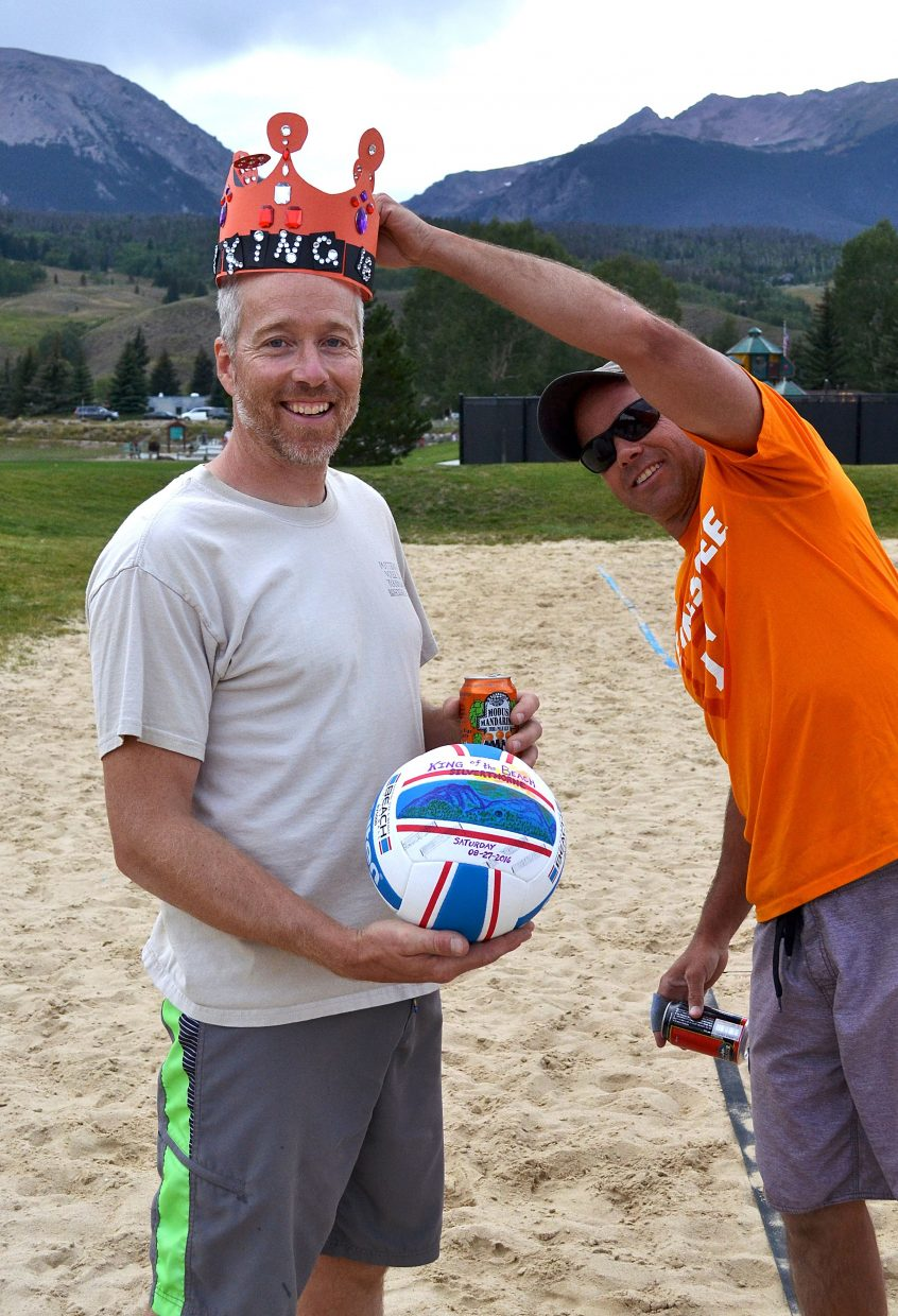 King of the Beach: 2016 tournament winner Eric Fischer is crowned after winning the finals on Aug. 27 in Silverthorne.