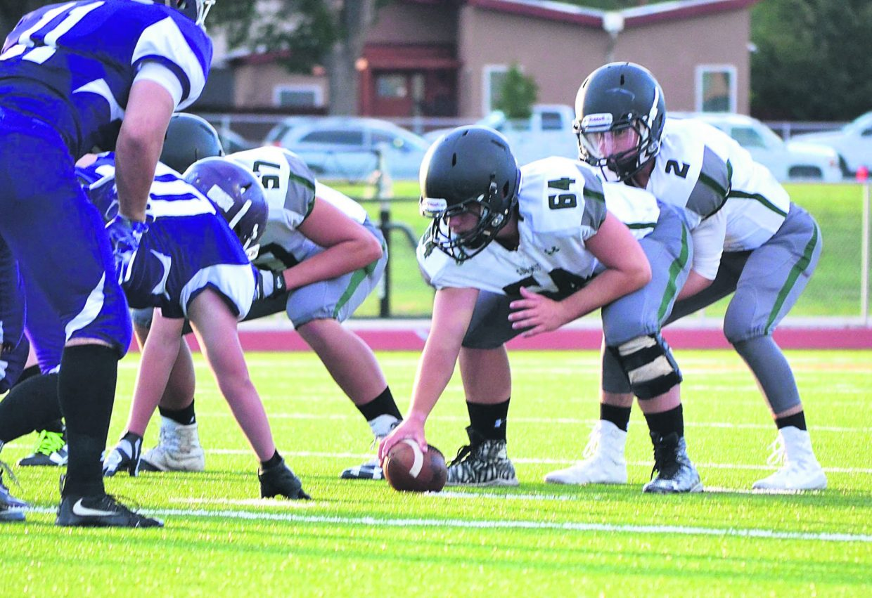 The Summit Tigers line up during the first game of the varsity season, an away game against Salida High School on Aug. 26. The Tigers won, 33-21, en route to another win against Steamboat Springs on Sept. 2, 35-7.