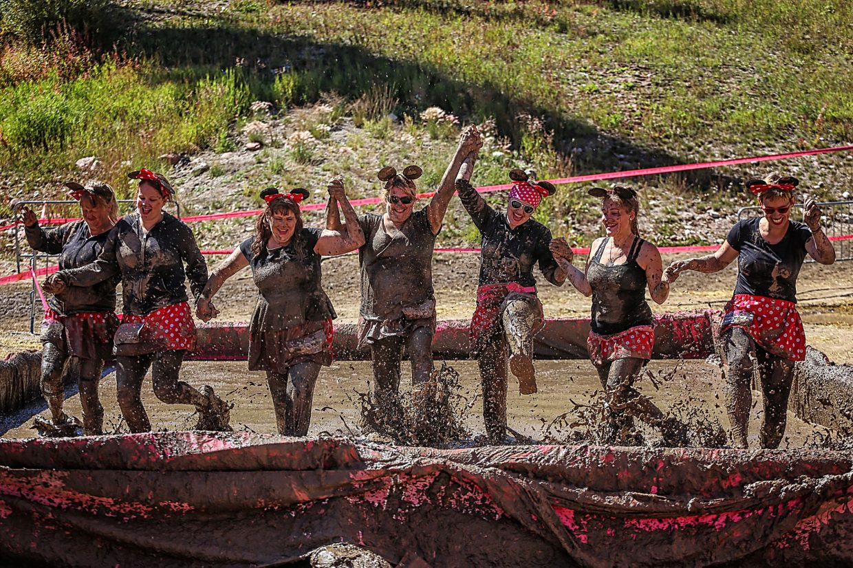 A costumed team of mud runners do what they came to do at the Dirty Girl Mud Run in Copper last year. The fun run returns on Sept. 10 as part of the Unleash the Fierce weekend, with indoor and outdoor events made just for ladies.