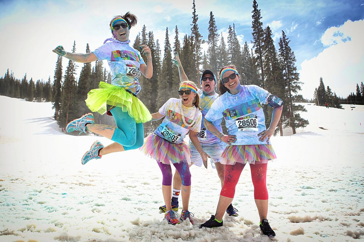 Copper Mountain's Kimberly Trembearth (second from left) with a team at the Color Run in 2015. For the first time, Trembearth joins another group for the 2016 Dirty Girl Mud Run on Sept. 10.
