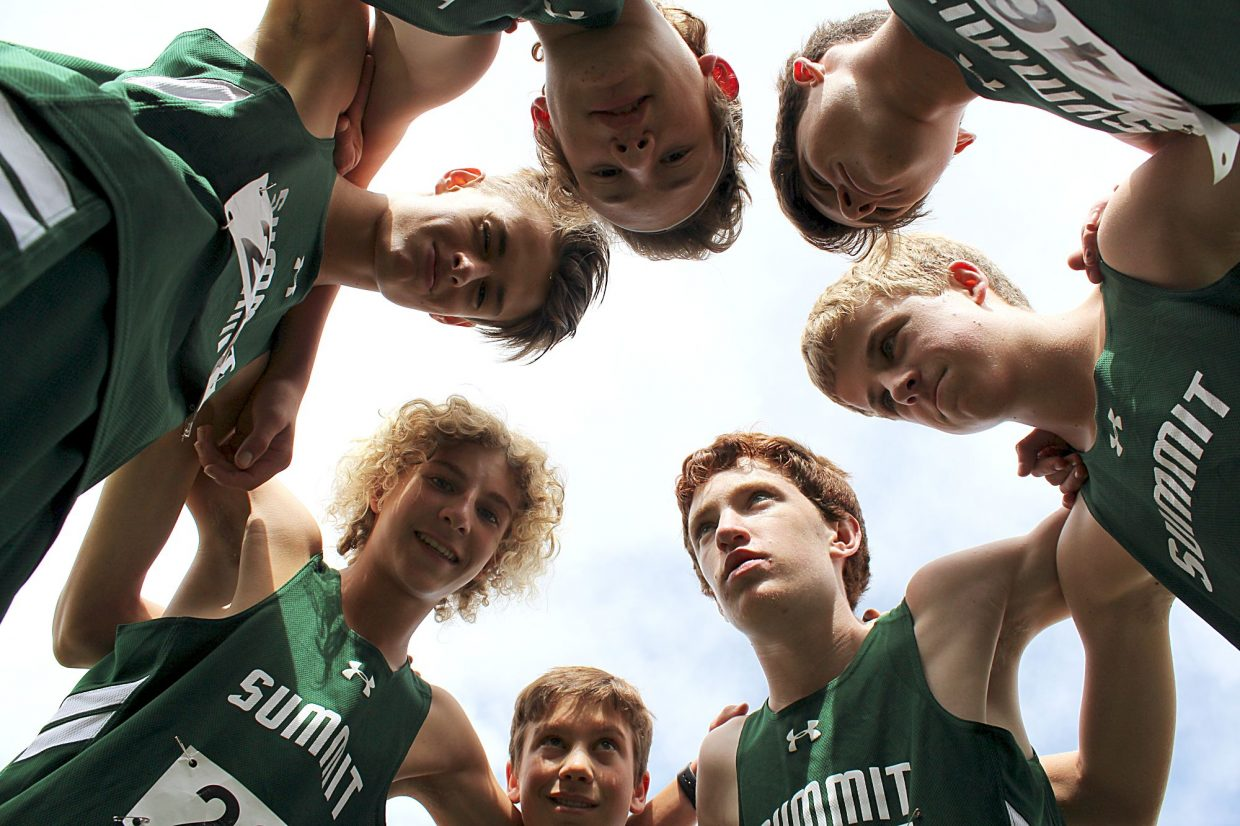The Summit High boy's varsity cross-country team before a meet this season.