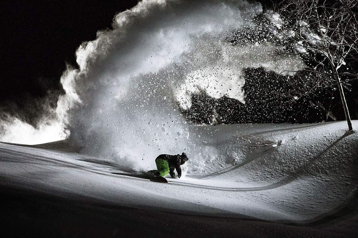 Mark Landvik in Hakuba, Japan at night for