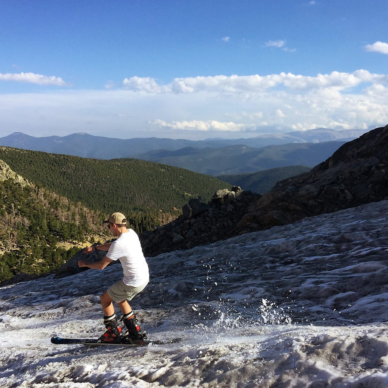 The author skiing in late August on St. Mary's Glacier outside of Georgetown, CO.