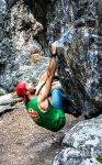Breckenridge-based climber Jordan Lynch warms up on Montezuma Boulders, home to dozens of named and unnamed problems rated from V0 to V7. On average, rock climbing and bouldering burn 774 calories/hour.