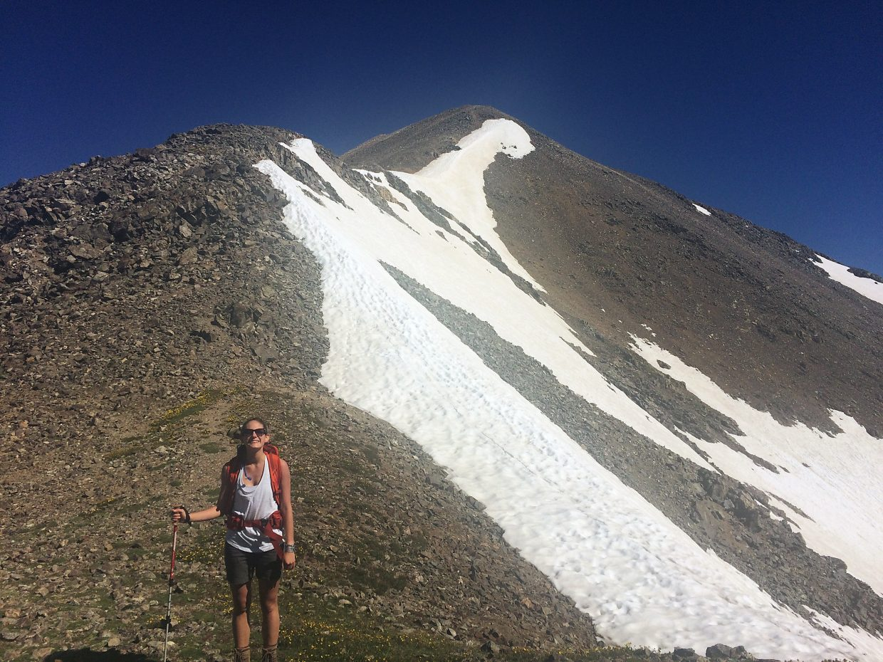 The author on the final, scree-filled approach to the summit of Grays Peak (14,278 feet).
